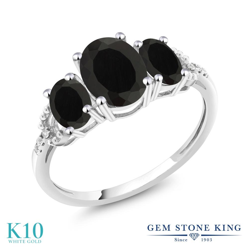 Gem Stone King 2.08カラット 天然 オニキス 天然 ダイヤモンド 10金 ホワイトゴールド(K10) 指輪 リング レディース 大粒 スリーストーン 天然石 8月 誕生石 金属アレルギー対応 婚約指輪 エンゲージリング