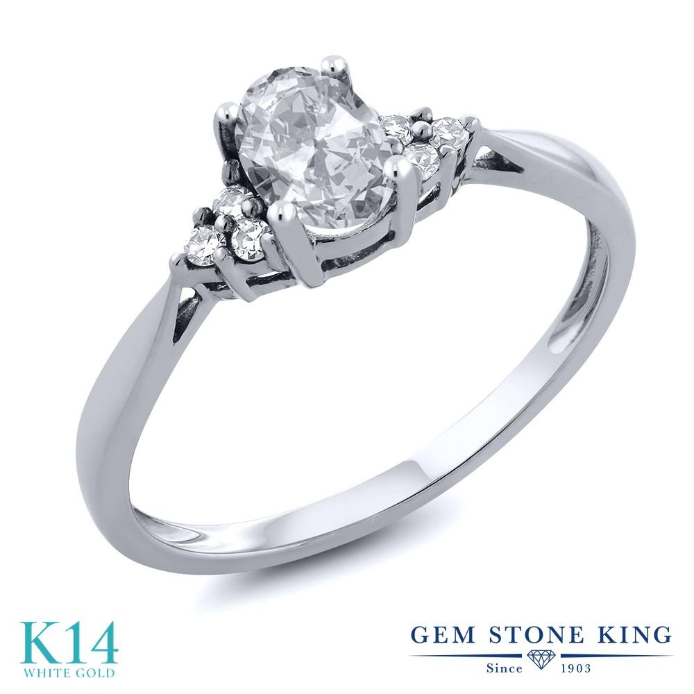 Gem Stone King 0.56カラット 天然 トパーズ (無色透明) 天然 ダイヤモンド 14金 ホワイトゴールド(K14) 指輪 リング レディース 小粒 ソリティア 天然石 11月 誕生石 金属アレルギー対応 誕生日プレゼント