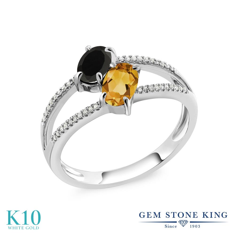 Gem Stone King 1.07カラット 天然 オニキス 天然 シトリン 天然 ダイヤモンド 10金 ホワイトゴールド(K10) 指輪 リング レディース 小粒 ダブルストーン 天然石 8月 誕生石 金属アレルギー対応 誕生日プレゼント