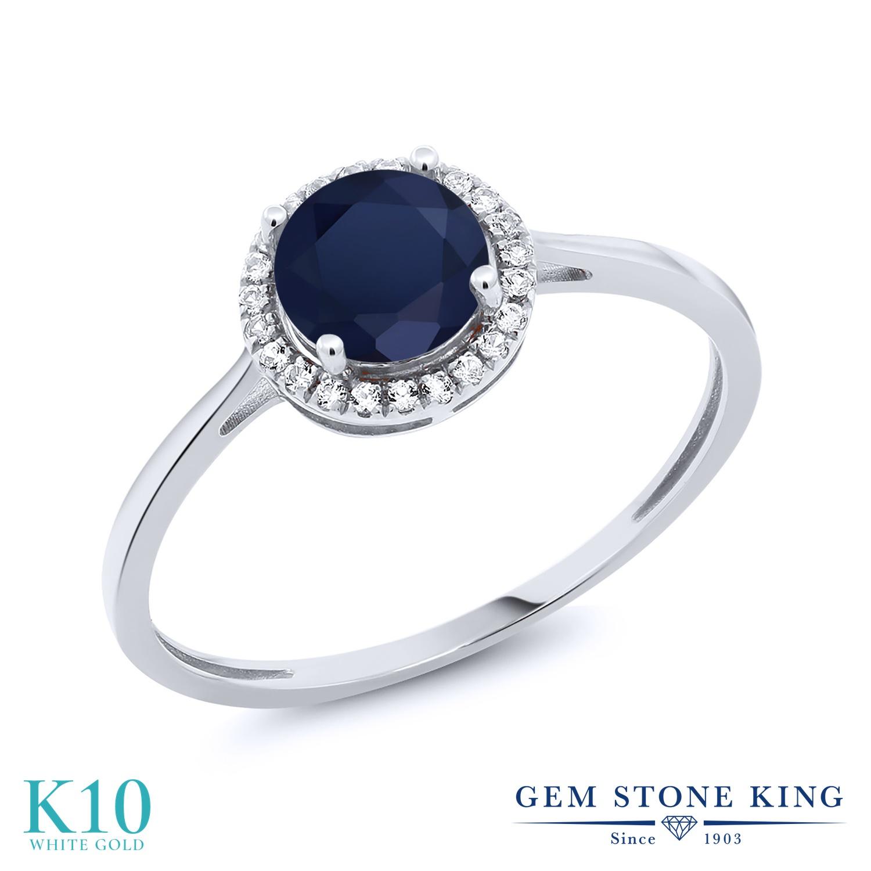 Gem Stone King 1.32カラット 天然 サファイア 天然 ダイヤモンド 10金 ホワイトゴールド(K10) 指輪 リング レディース 大粒 ヘイロー 天然石 9月 誕生石 金属アレルギー対応 誕生日プレゼント