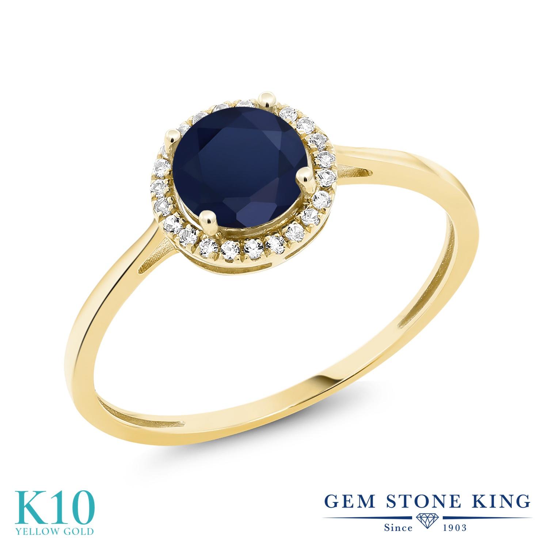 Gem Stone King 1.32カラット 天然 サファイア 天然 ダイヤモンド 10金 イエローゴールド(K10) 指輪 リング レディース 大粒 ヘイロー 天然石 9月 誕生石 金属アレルギー対応 誕生日プレゼント