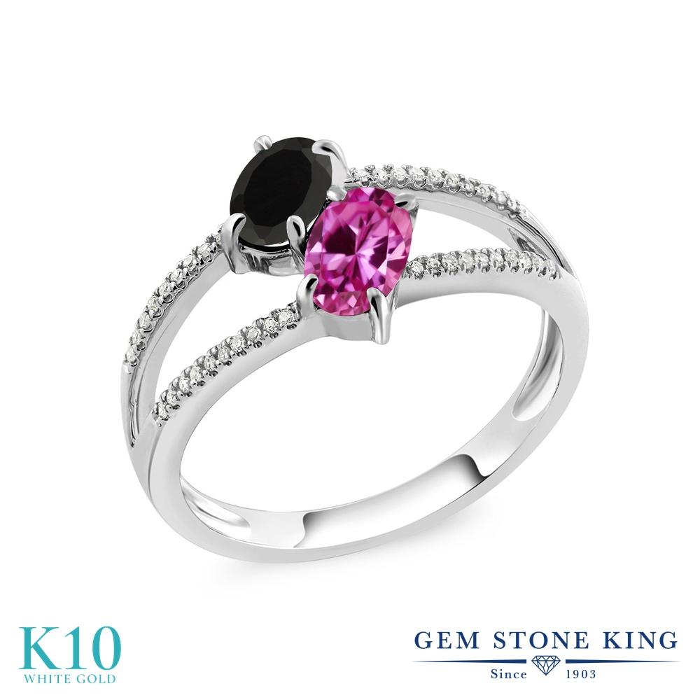 Gem Stone King 1.17カラット 天然 オニキス 合成ピンクサファイア 天然 ダイヤモンド 10金 ホワイトゴールド(K10) 指輪 リング レディース 小粒 ダブルストーン 天然石 8月 誕生石 金属アレルギー対応 誕生日プレゼント