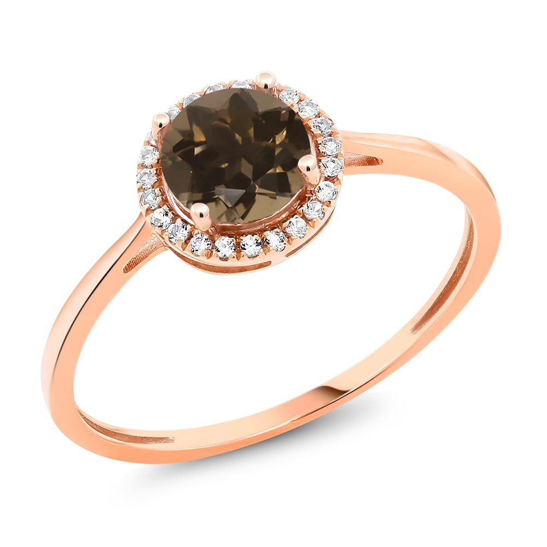 Gem Stone King 1.02カラット 天然 スモーキークォーツ (ブラウン) 天然 ダイヤモンド 10金 ピンクゴールド(K10) 指輪 リング レディース ヘイロー 天然石 金属アレルギー対応 誕生日プレゼント