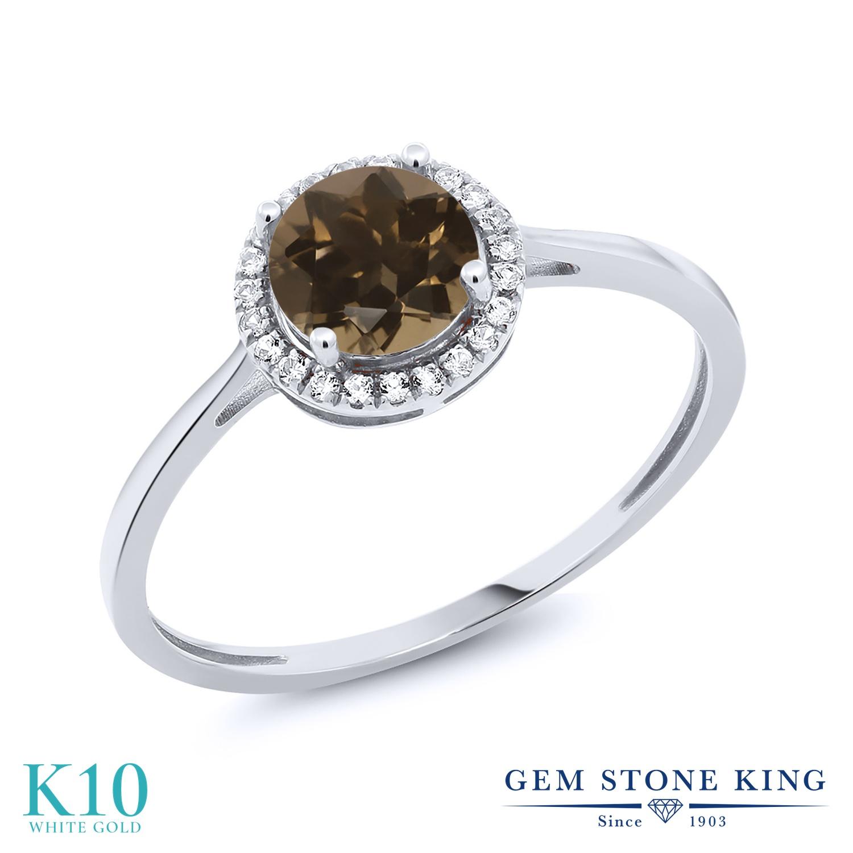 Gem Stone King 1.02カラット 天然 スモーキークォーツ (ブラウン) 天然 ダイヤモンド 10金 ホワイトゴールド(K10) 指輪 リング レディース ヘイロー 天然石 金属アレルギー対応 誕生日プレゼント