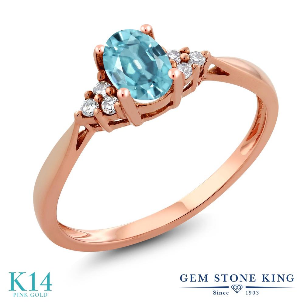 Gem Stone King 0.75カラット 天然石 ブルージルコン 天然 ダイヤモンド 14金 ピンクゴールド(K14) 指輪 リング レディース ソリティア 天然石 12月 誕生石 金属アレルギー対応 誕生日プレゼント