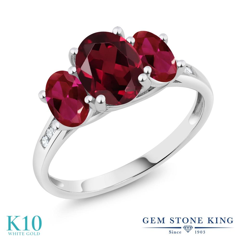 Gem Stone King 2.35カラット 天然 ロードライトガーネット 合成ルビー 天然 ダイヤモンド 10金 ホワイトゴールド(K10) 指輪 リング レディース 大粒 スリーストーン 天然石 金属アレルギー対応 誕生日プレゼント