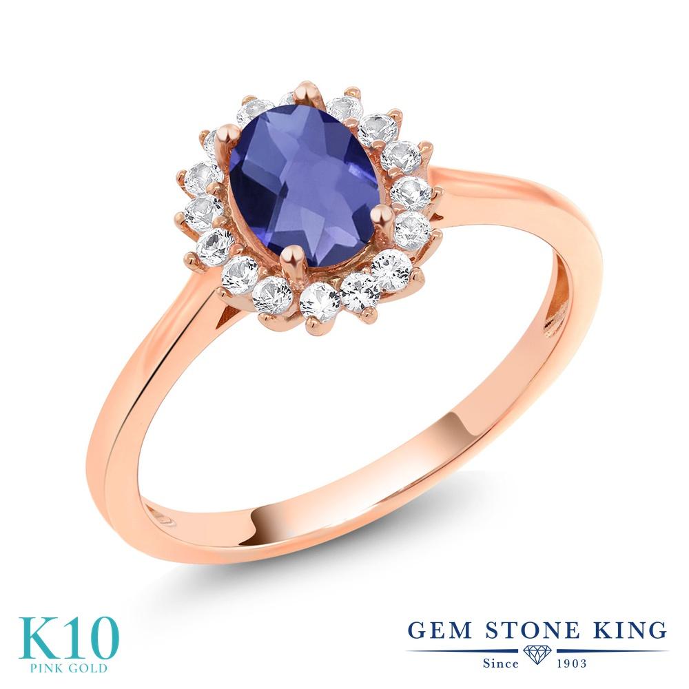【10%OFF】 Gem Stone King 0.89カラット 天然 アイオライト (ブルー) 合成ホワイトサファイア (ダイヤのような無色透明) 指輪 リング レディース 10金 ピンクゴールド K10 クラスター 天然石 クリスマスプレゼント 女性 彼女 妻 誕生日