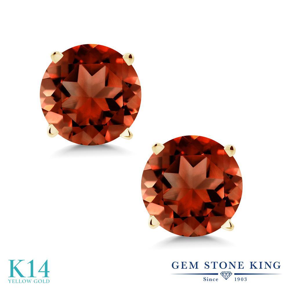 Gem Stone King 2カラット 天然 ガーネット ピアス レディース 14金 イエローゴールド K14 大粒 シンプル スタッド 天然石 1月 誕生石 金属アレルギー対応