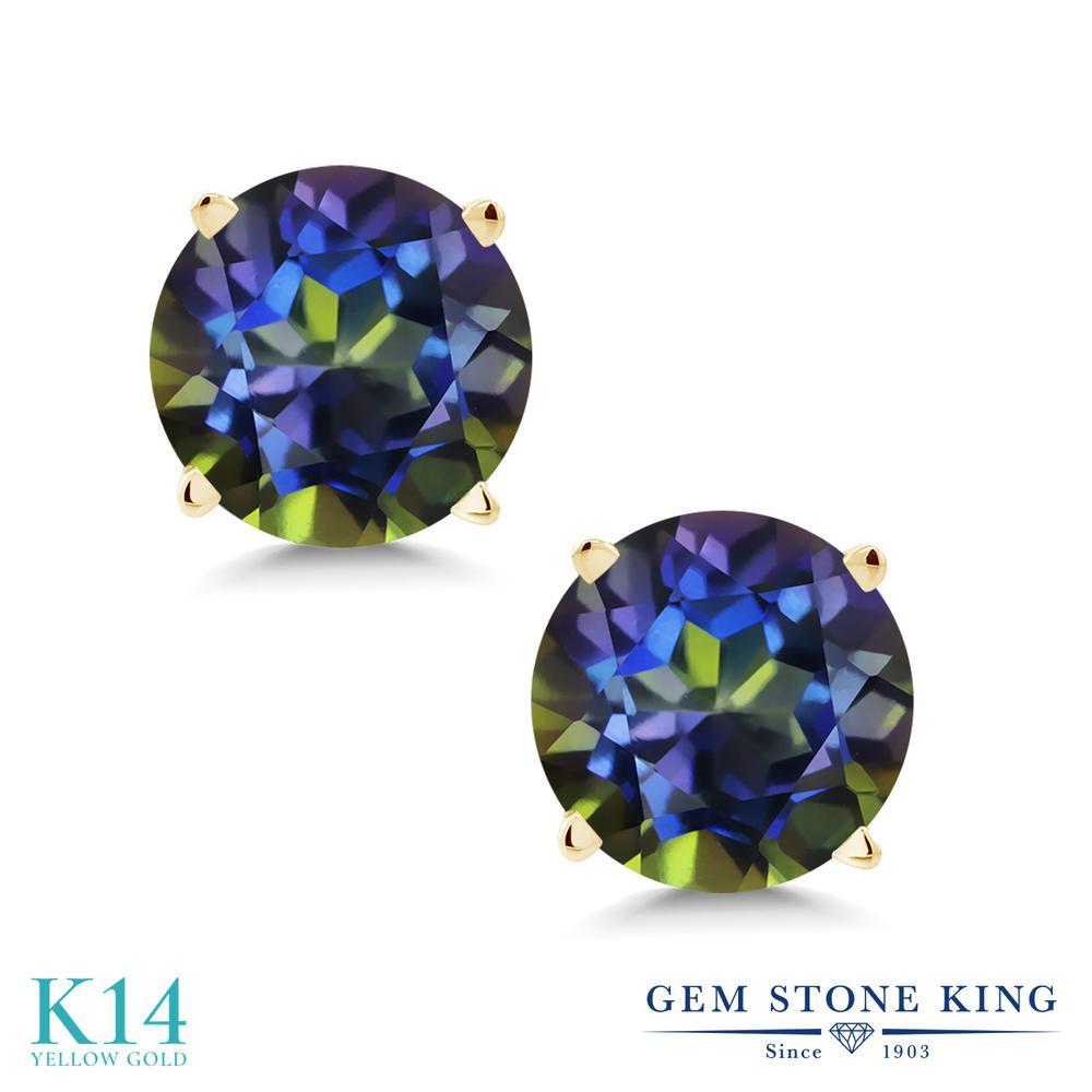 Gem Stone King 2.00カラット 天然石 ミスティックトパーズ(ブルー) 14金 イエローゴールド(K14) ピアス レディース 大粒 シンプル スタッド 天然石 金属アレルギー対応 誕生日プレゼント