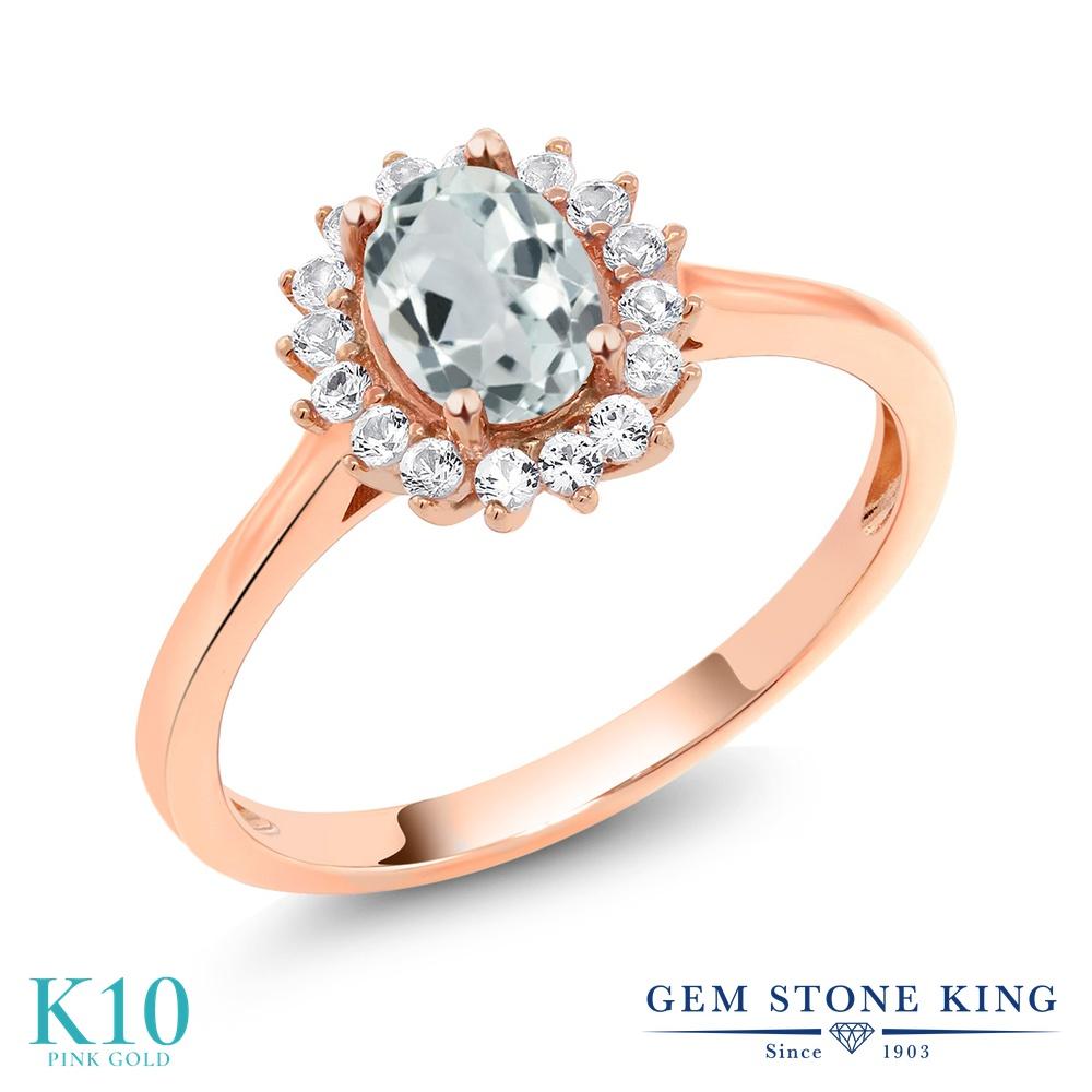 Gem Stone King 0.96カラット 天然 アクアマリン 合成ホワイトサファイア (ダイヤのような無色透明) 10金 ピンクゴールド(K10) 指輪 リング レディース クラスター 天然石 3月 誕生石 金属アレルギー対応 誕生日プレゼント