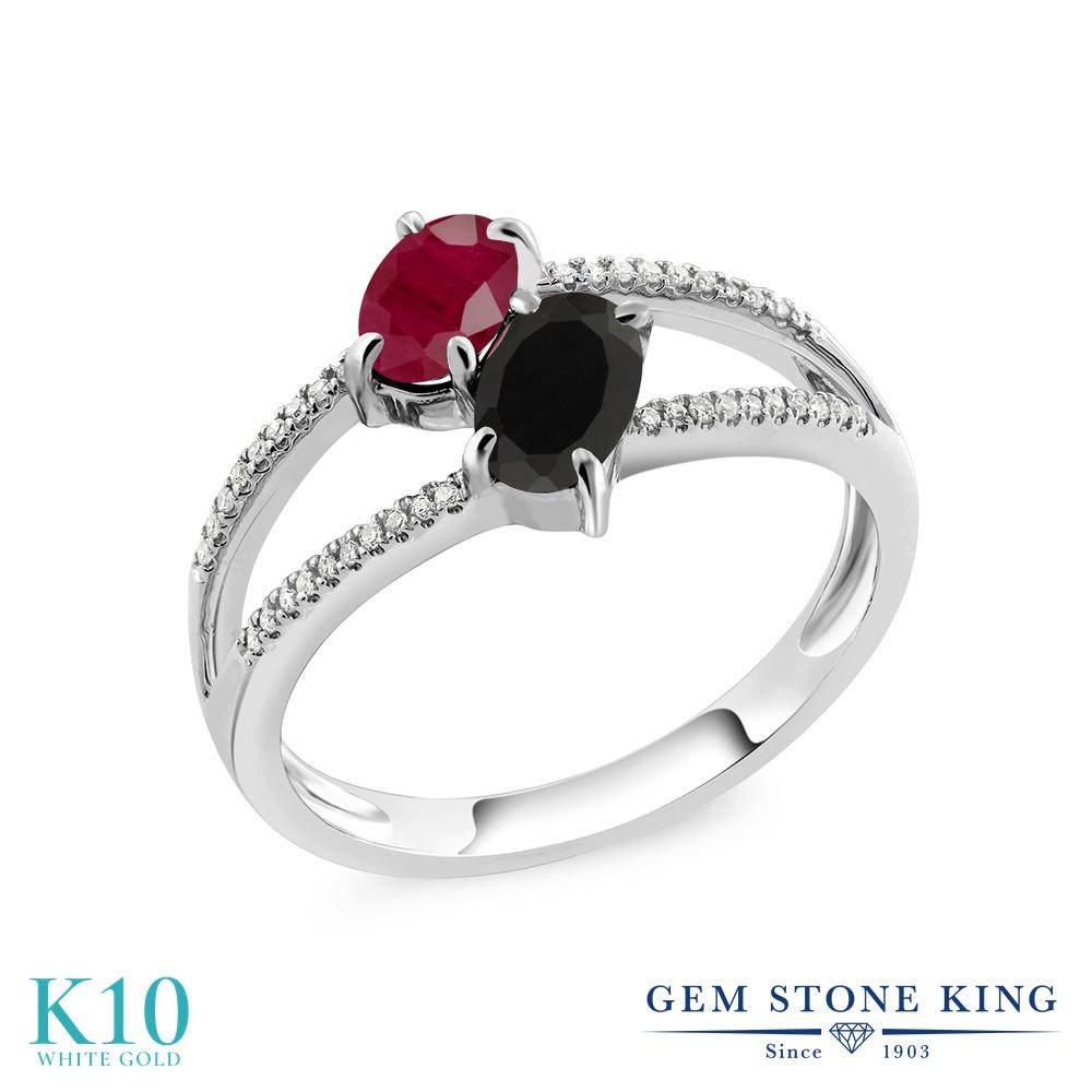 【10%OFF】 Gem Stone King 1.27カラット 天然 ルビー オニキス ダイヤモンド 指輪 リング レディース 10金 ホワイトゴールド K10 ダブルストーン 天然石 7月 誕生石 クリスマスプレゼント 女性 彼女 妻 誕生日