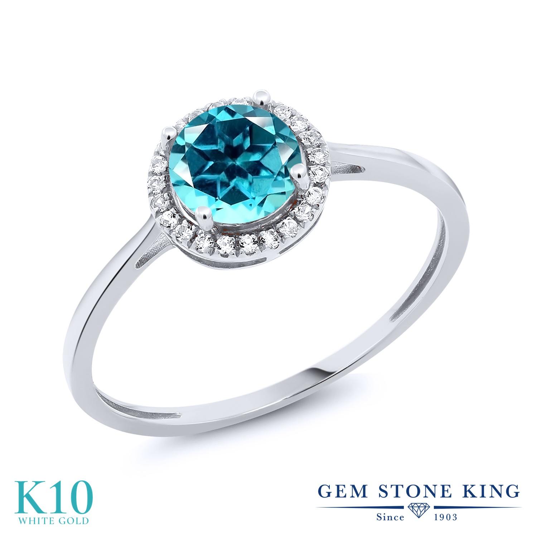 Gem Stone King 1.18カラット 天然石 パライバトパーズ (スワロフスキー 天然石シリーズ) 天然 ダイヤモンド 10金 ホワイトゴールド(K10) 指輪 リング レディース 大粒 ヘイロー 天然石 金属アレルギー対応 誕生日プレゼント