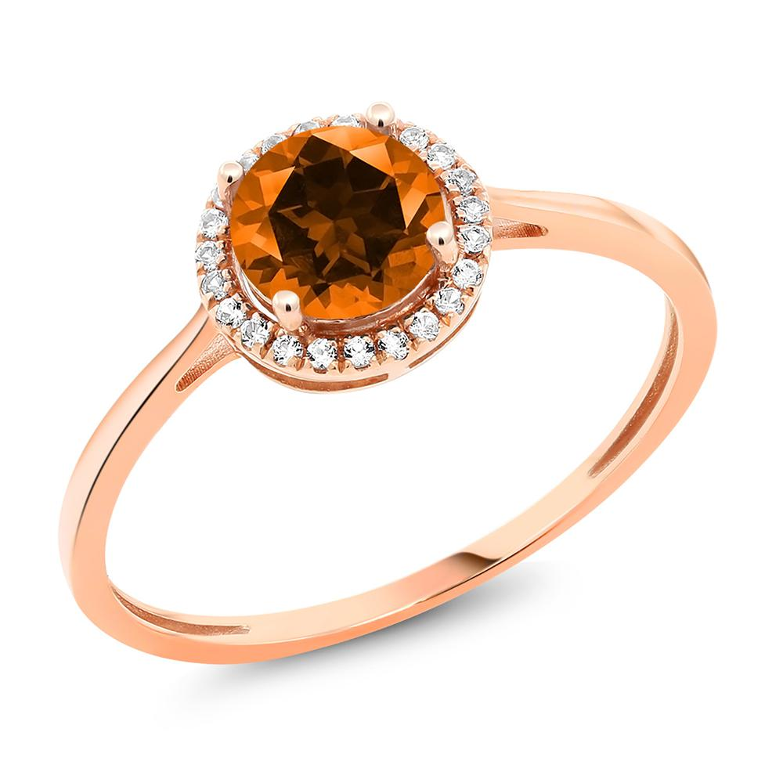 Gem Stone King 1.22カラット 天然石 トパーズ ポピー (スワロフスキー 天然石シリーズ) 天然 ダイヤモンド 10金 ピンクゴールド(K10) 指輪 リング レディース 大粒 一粒 ヘイロー 天然石 金属アレルギー対応 誕生日プレゼント