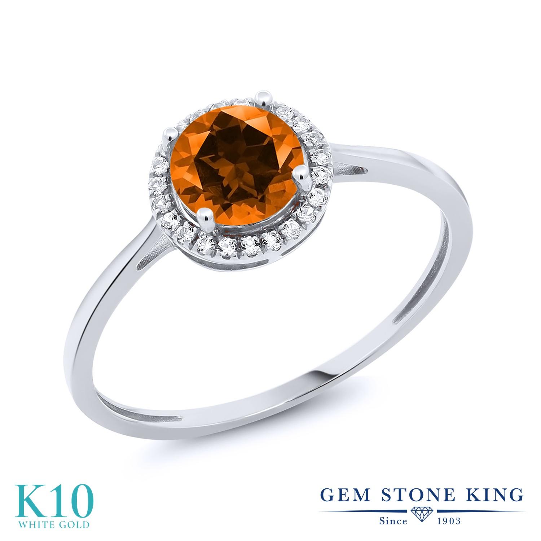 Gem Stone King 1.22カラット 天然石 トパーズ ポピー (スワロフスキー 天然石シリーズ) 天然 ダイヤモンド 10金 ホワイトゴールド(K10) 指輪 リング レディース 大粒 一粒 ヘイロー 天然石 金属アレルギー対応 誕生日プレゼント