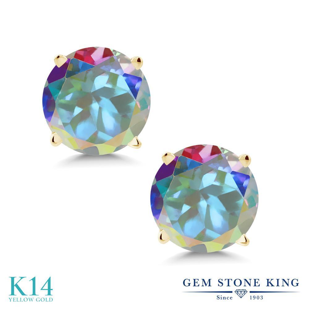 Gem Stone King 2.00カラット 天然石 ミスティックトパーズ(マーキュリーミスト) 14金 イエローゴールド(K14) ピアス レディース 大粒 シンプル スタッド 天然石 金属アレルギー対応 誕生日プレゼント