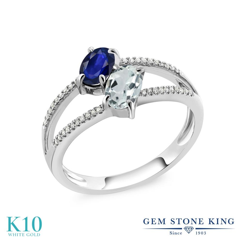 Gem Stone King 1.16カラット 天然 サファイア 天然 アクアマリン 天然 ダイヤモンド 10金 ホワイトゴールド(K10) 指輪 リング レディース 小粒 ダブルストーン 天然石 9月 誕生石 金属アレルギー対応 誕生日プレゼント