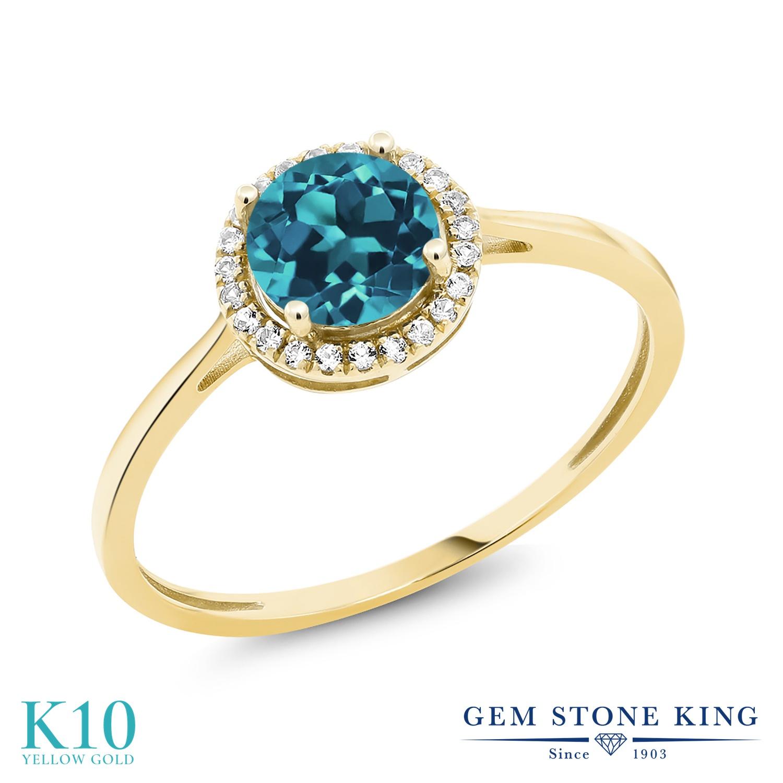 Gem Stone King 1.28カラット 天然 ロンドンブルートパーズ 天然 ダイヤモンド 10金 イエローゴールド(K10) 指輪 リング レディース 大粒 ヘイロー 天然石 11月 誕生石 金属アレルギー対応 誕生日プレゼント