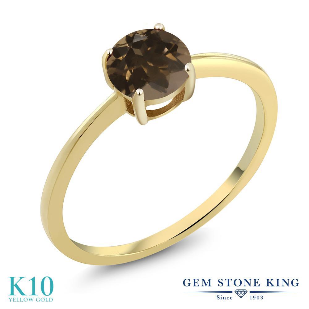 Gem Stone King 0.8カラット 天然 スモーキークォーツ (ブラウン) 10金 イエローゴールド(K10) 指輪 リング レディース 一粒 シンプル ソリティア 天然石 金属アレルギー対応 婚約指輪 エンゲージリング