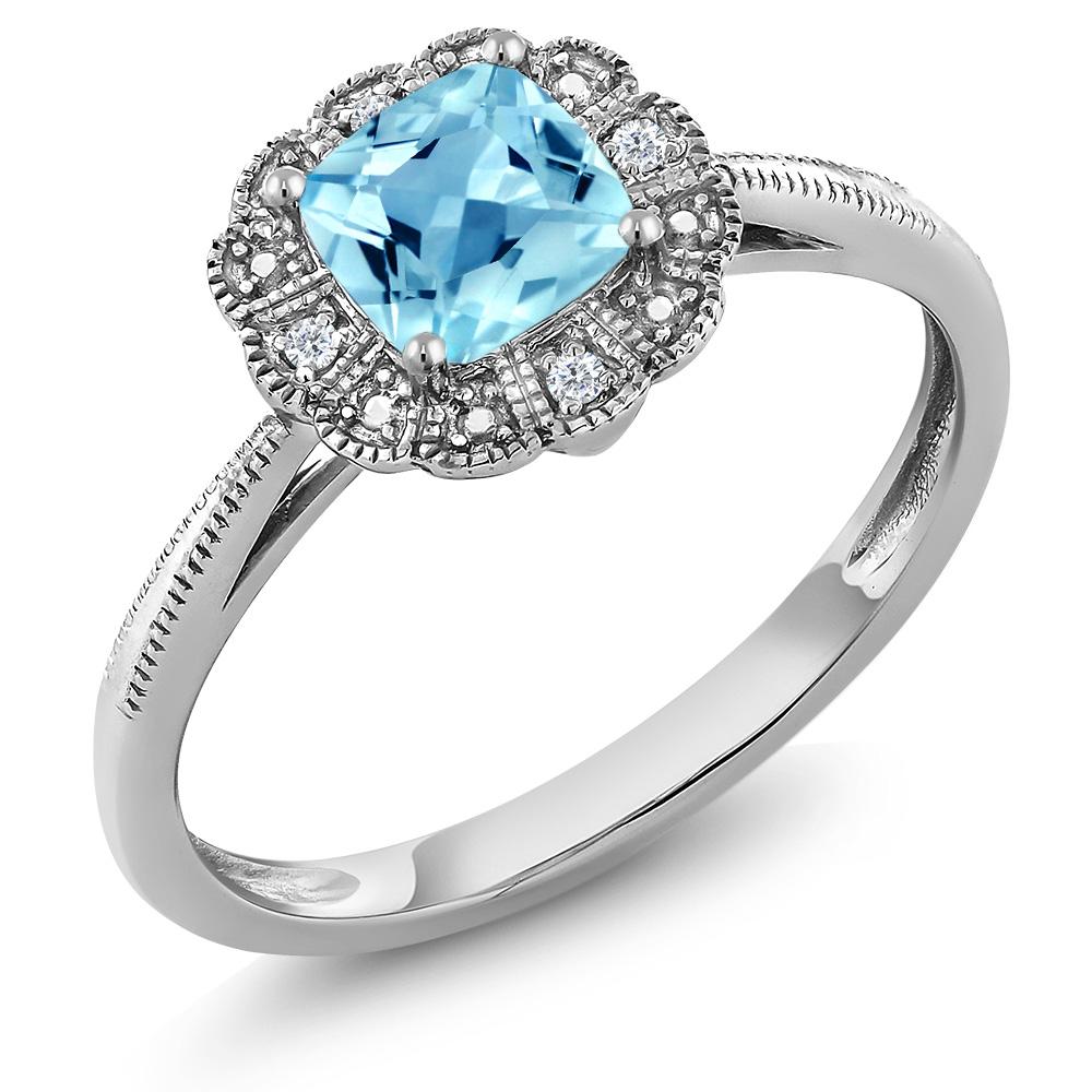 Gem Stone King 0.65カラット 天然 スイスブルートパーズ 天然 ダイヤモンド 10金 ホワイトゴールド(K10) 指輪 リング レディース ヘイロー 天然石 11月 誕生石 金属アレルギー対応 誕生日プレゼント