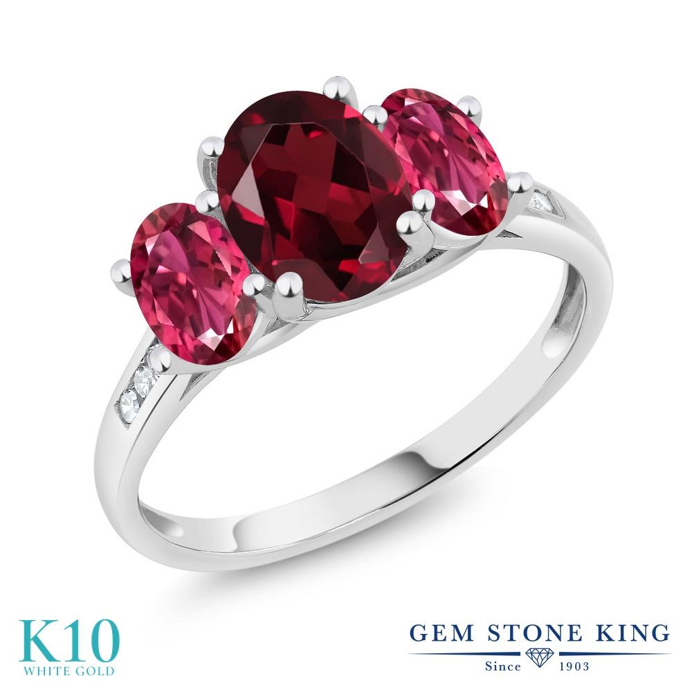 Gem Stone King 2.11カラット 天然 ロードライトガーネット 天然 ピンクトルマリン 天然 ダイヤモンド 10金 ホワイトゴールド(K10) 指輪 リング レディース 大粒 スリーストーン 天然石 金属アレルギー対応 誕生日プレゼント