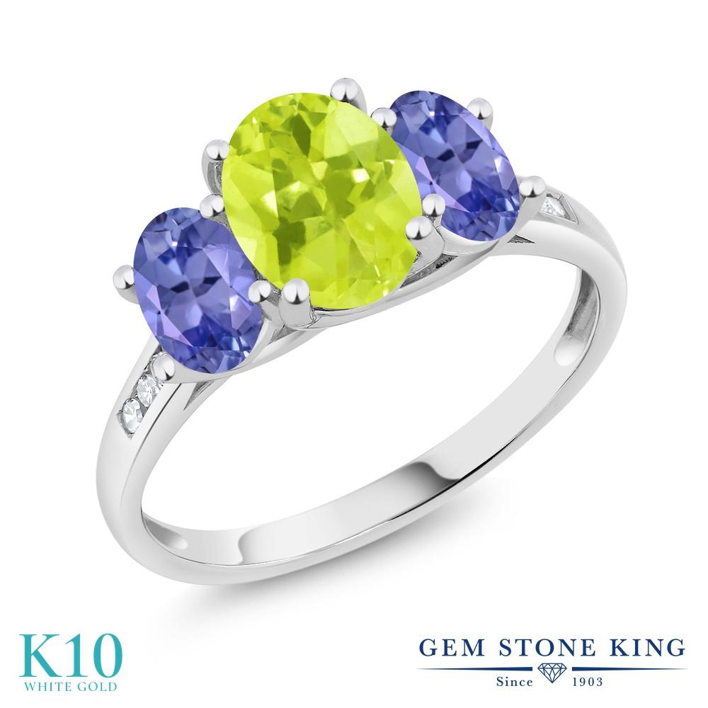 Gem Stone King 2カラット 天然 レモンクォーツ 天然石 タンザナイト 天然 ダイヤモンド 10金 ホワイトゴールド(K10) 指輪 リング レディース 大粒 スリーストーン 天然石 金属アレルギー対応 誕生日プレゼント