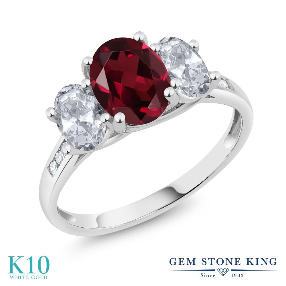 Gem Stone King 2.35カラット 天然 ロードライトガーネット 天然 トパーズ (無色透明) 天然 ダイヤモンド 10金 ホワイトゴールド(K10) 指輪 リング レディース 大粒 スリーストーン 天然石 金属アレルギー対応 誕生日プレゼント