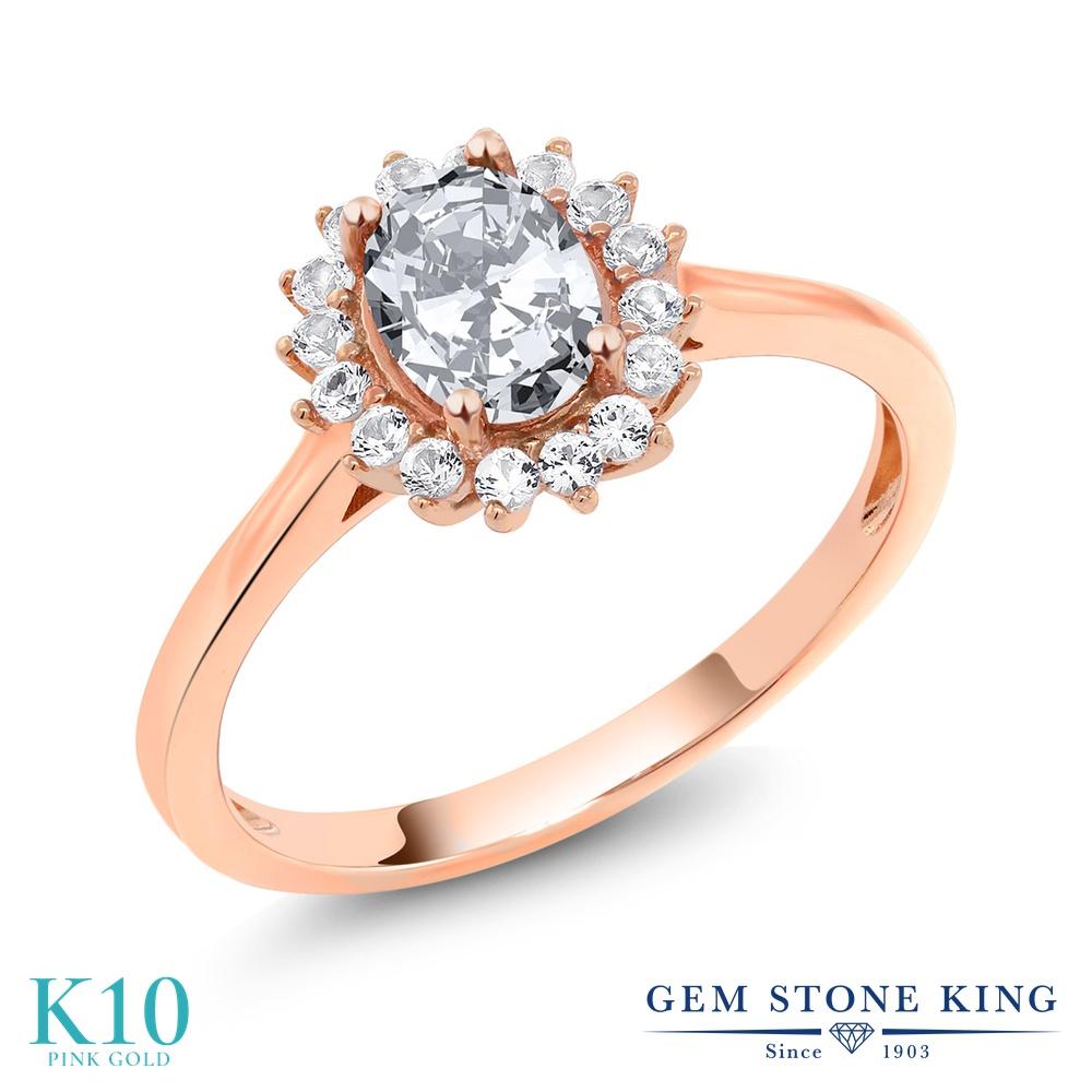 Gem Stone King 1.74カラット ジルコニア (無色透明) 合成ホワイトサファイア (ダイヤのような無色透明) 10金 ピンクゴールド(K10) 指輪 リング レディース CZ 大粒 クラスター 金属アレルギー対応 誕生日プレゼント