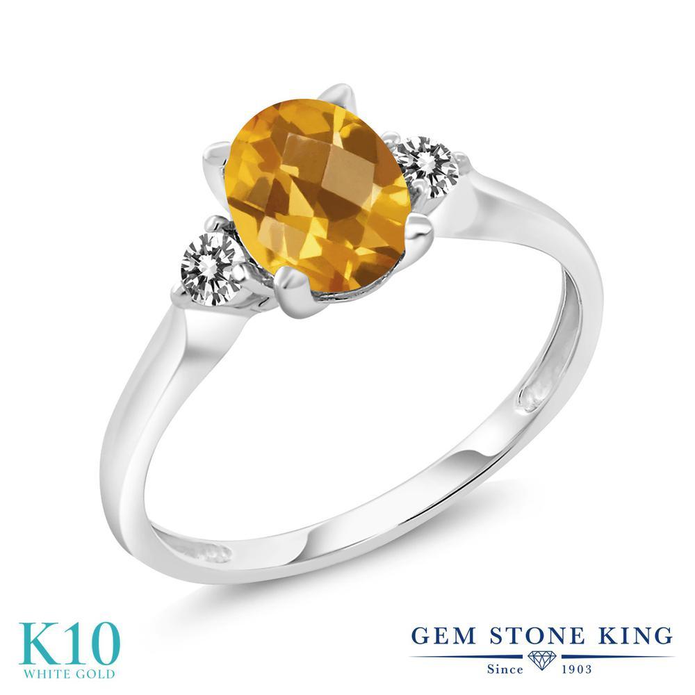 Gem Stone King 1.38カラット 天然 シトリン 天然 ダイヤモンド 10金 ホワイトゴールド(K10) 指輪 リング レディース 大粒 シンプル スリーストーン 天然石 11月 誕生石 金属アレルギー対応 誕生日プレゼント