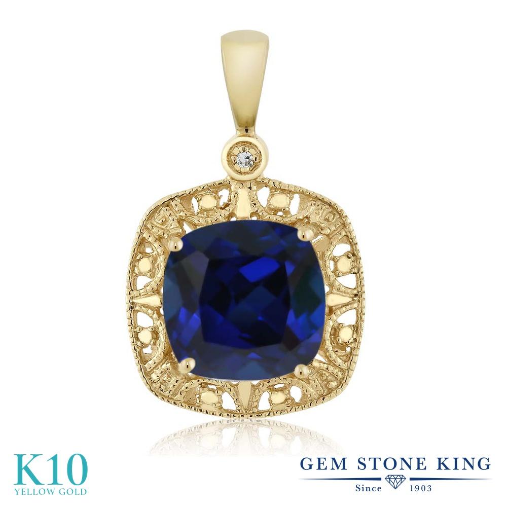 Gem Stone King 2.5カラット シミュレイテッド サファイア 天然 ダイヤモンド 10金 イエローゴールド(K10) ネックレス レディース 大粒 シンプル 金属アレルギー対応 誕生日プレゼント