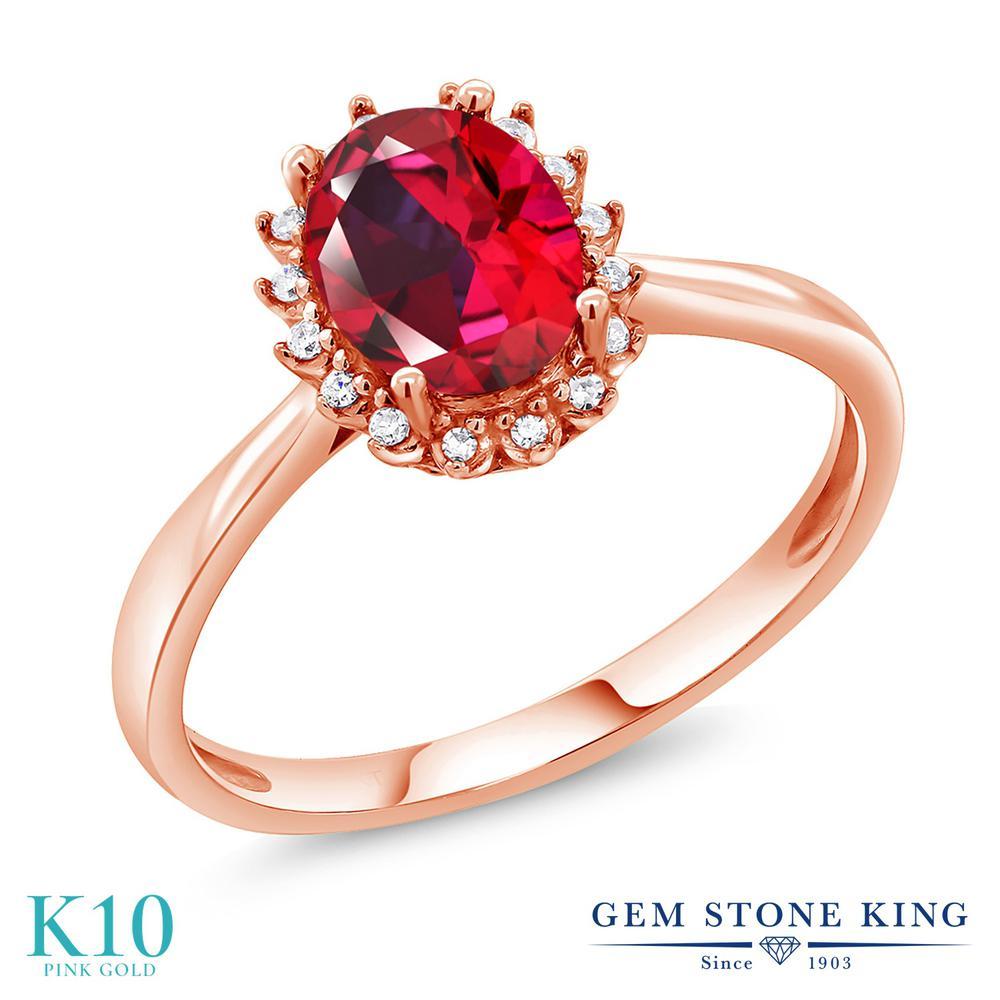 Gem Stone King 1.32カラット 天然石 レッドトパーズ (スワロフスキー 天然石シリーズ) 天然 ダイヤモンド 10金 ピンクゴールド(K10) 指輪 リング レディース 大粒 ヘイロー 天然石 金属アレルギー対応 誕生日プレゼント