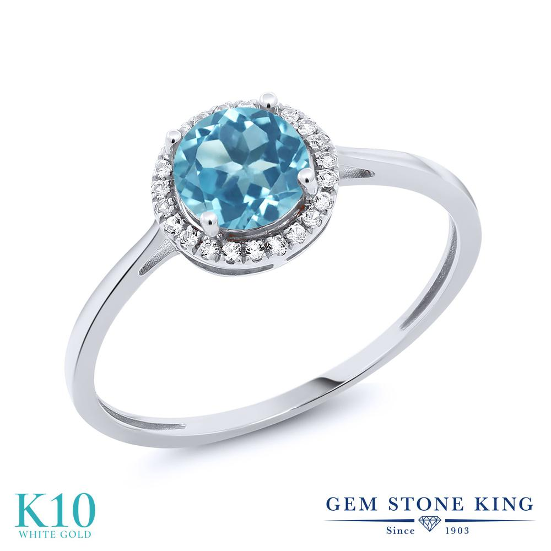 Gem Stone King 1.22カラット 天然 スイスブルートパーズ 天然 ダイヤモンド 10金 ホワイトゴールド(K10) 指輪 リング レディース 大粒 ヘイロー 天然石 11月 誕生石 金属アレルギー対応 誕生日プレゼント