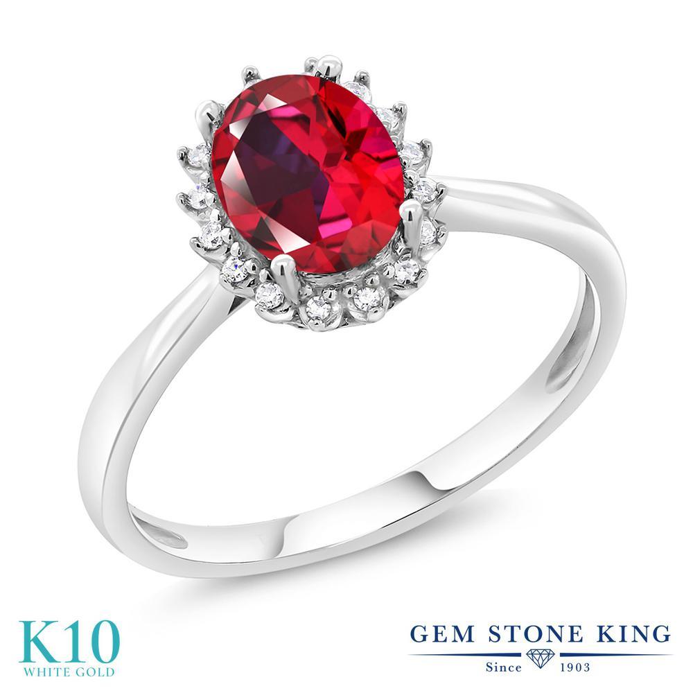 Gem Stone King 1.32カラット 天然石 レッドトパーズ (スワロフスキー 天然石シリーズ) 天然 ダイヤモンド 10金 ホワイトゴールド(K10) 指輪 リング レディース 大粒 ヘイロー 天然石 金属アレルギー対応 誕生日プレゼント