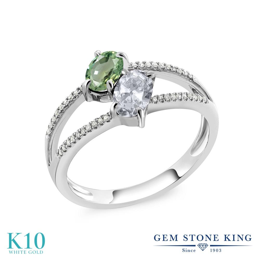 Gem Stone King 1.33カラット 天然 グリーンサファイア 天然 トパーズ (無色透明) 天然 ダイヤモンド 10金 ホワイトゴールド(K10) 指輪 リング レディース ダブルストーン 天然石 9月 誕生石 金属アレルギー対応 誕生日プレゼント