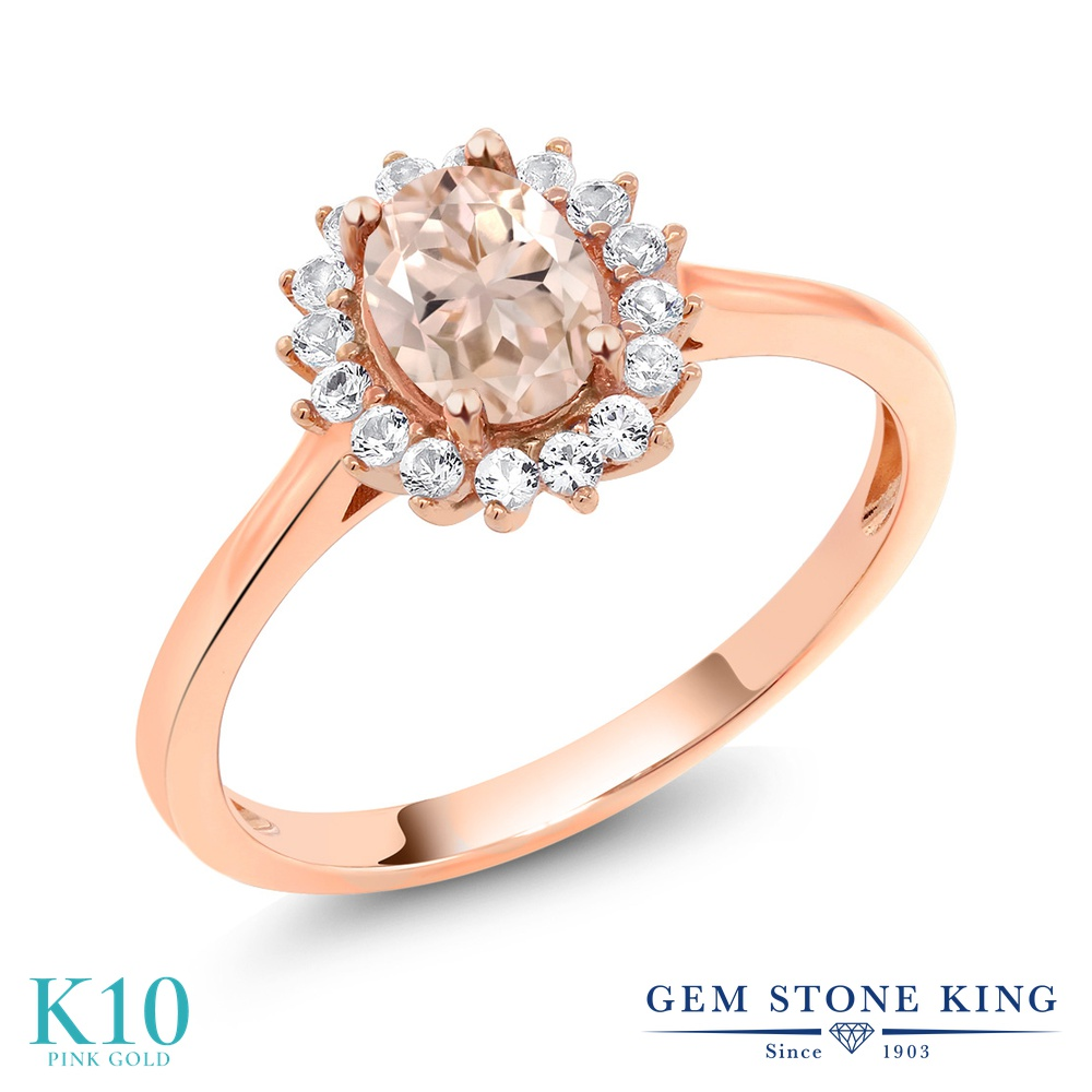 Gem Stone King 0.89カラット 天然 モルガナイト (ピーチ) 合成ホワイトサファイア (ダイヤのような無色透明) 10金 ピンクゴールド(K10) 指輪 リング レディース クラスター 天然石 3月 誕生石 金属アレルギー対応 誕生日プレゼント