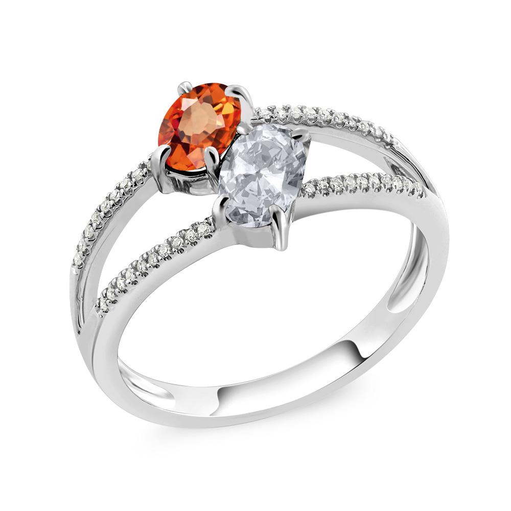 Gem Stone King 1.33カラット 天然 オレンジサファイア 天然 トパーズ (無色透明) 天然 ダイヤモンド 10金 ホワイトゴールド(K10) 指輪 リング レディース ダブルストーン 天然石 9月 誕生石 金属アレルギー対応 誕生日プレゼント