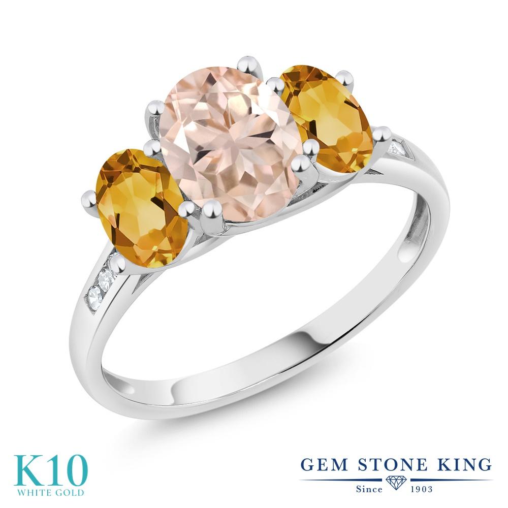 Gem Stone King 1.8カラット 天然 モルガナイト (ピーチ) 天然 シトリン 天然 ダイヤモンド 10金 ホワイトゴールド(K10) 指輪 リング レディース 大粒 スリーストーン 天然石 3月 誕生石 金属アレルギー対応 誕生日プレゼント