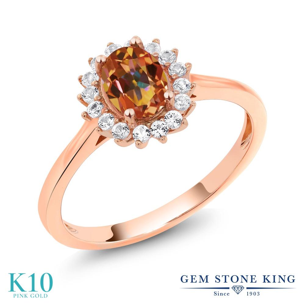 【10%OFF】 Gem Stone King 1.04カラット 天然石 エクスタシーミスティックトパーズ 合成ホワイトサファイア (ダイヤのような無色透明) 指輪 リング レディース 10金 ピンクゴールド K10 クラスター クリスマスプレゼント 女性 彼女 妻 誕生日