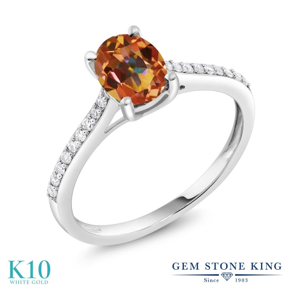 Gem Stone King 1.3カラット 天然石 エクスタシーミスティックトパーズ 天然 ダイヤモンド 10金 ホワイトゴールド(K10) 指輪 リング レディース 大粒 マルチストーン 天然石 金属アレルギー対応 婚約指輪 エンゲージリング
