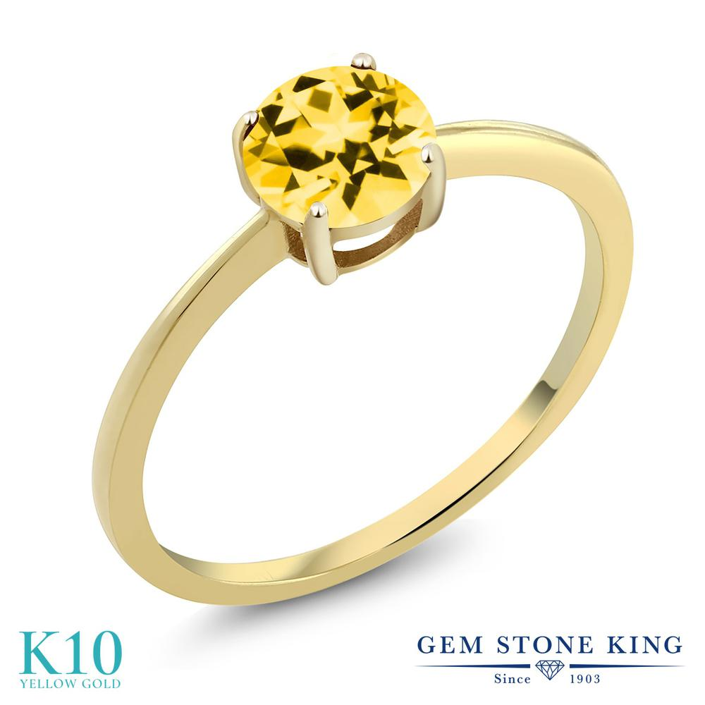 Gem Stone King 1カラット 天然石 トパーズ ハニースワロフスキー 10金 イエローゴールド(K10) 指輪 リング レディース 大粒 一粒 シンプル ソリティア 天然石 金属アレルギー対応 誕生日プレゼント