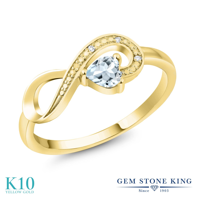 Gem Stone King 0.25カラット 天然 アクアマリン 天然 ダイヤモンド 10金 イエローゴールド(K10) 指輪 リング レディース 小粒 インフィニティ シンプル エタニティ 天然石 3月 誕生石 金属アレルギー対応 誕生日プレゼント