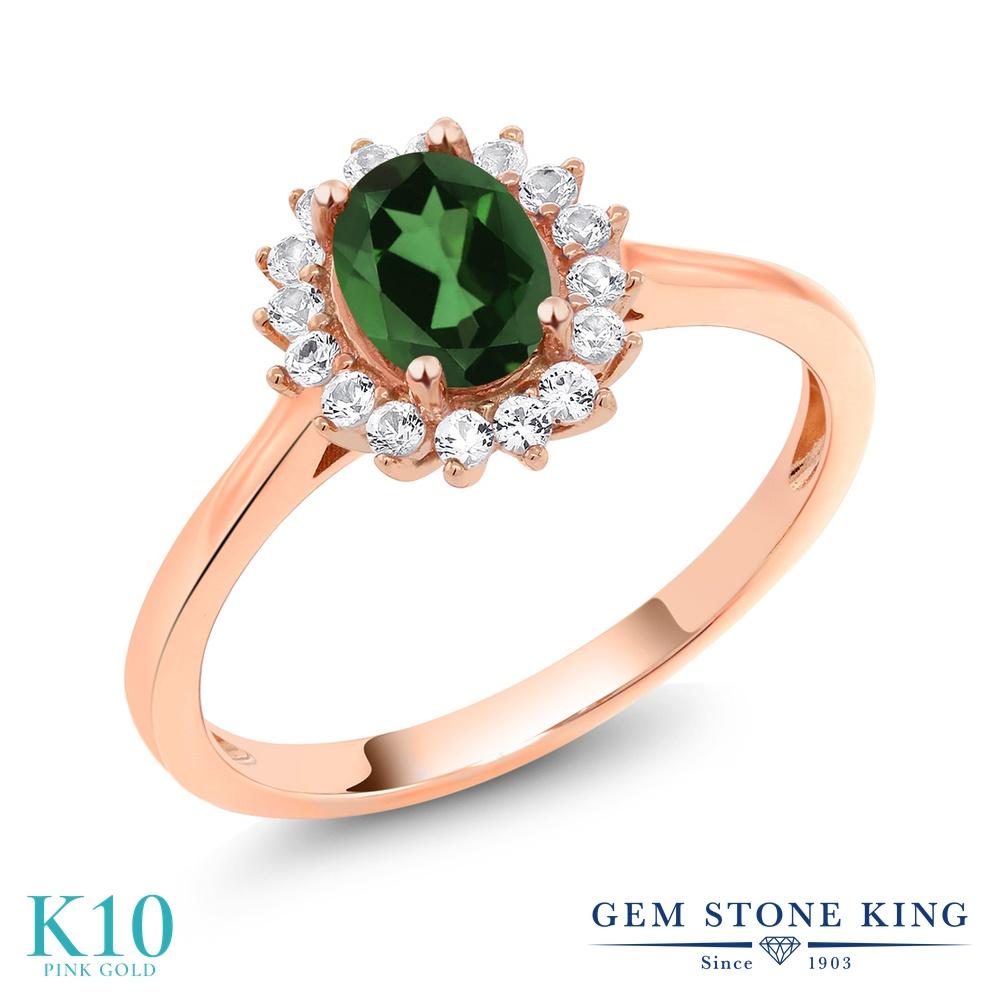 【10%OFF】 Gem Stone King 1.04カラット 天然石 ミスティックトパーズ (エメラルドグリーン) 合成ホワイトサファイア (ダイヤのような無色透明) 指輪 リング レディース 10金 ピンクゴールド K10 クラスター クリスマスプレゼント 女性 彼女 妻 誕生日