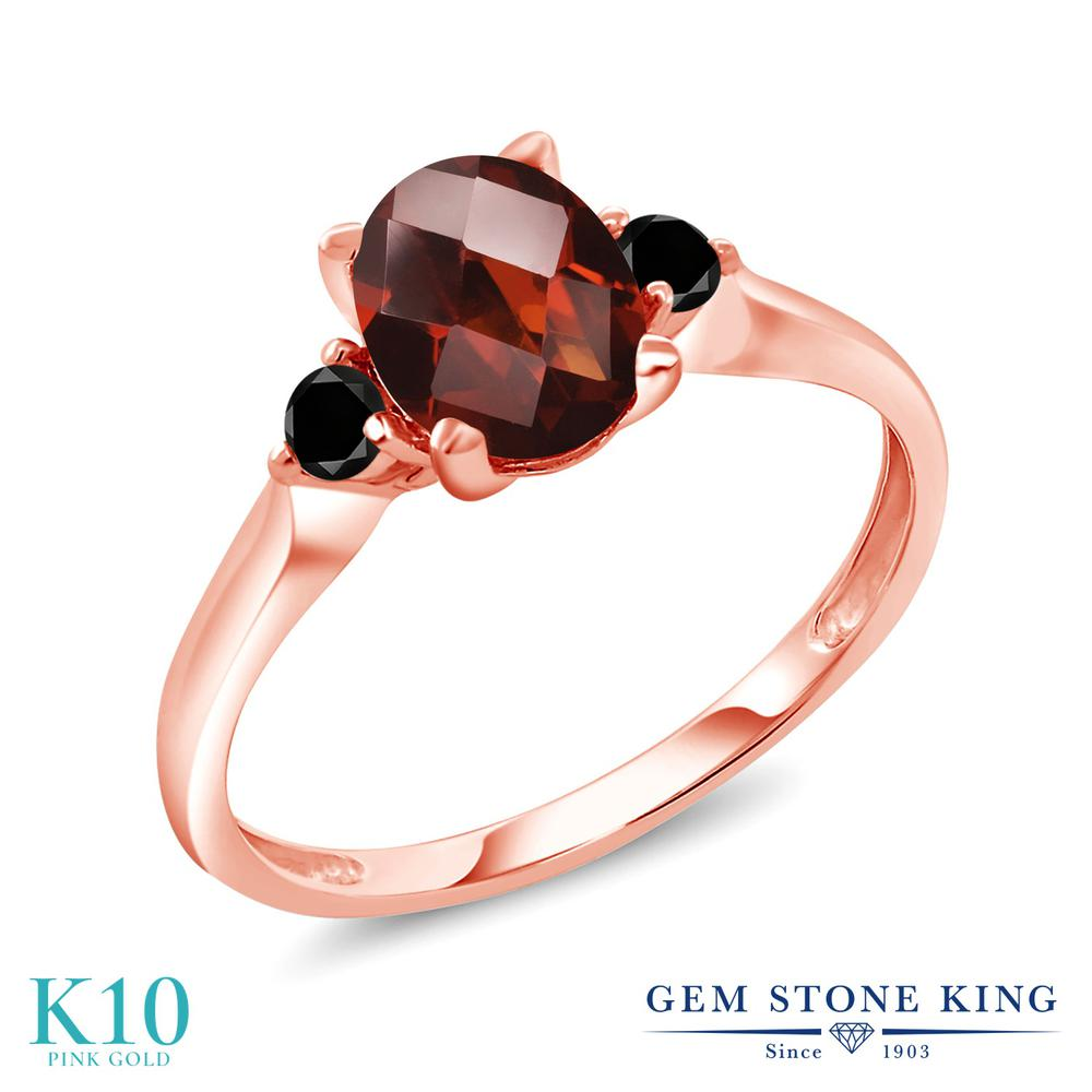 Gem Stone King 1.66カラット 天然 ガーネット 天然ブラックダイヤモンド 10金 ピンクゴールド(K10) 指輪 リング レディース 大粒 シンプル スリーストーン 天然石 1月 誕生石 金属アレルギー対応 誕生日プレゼント