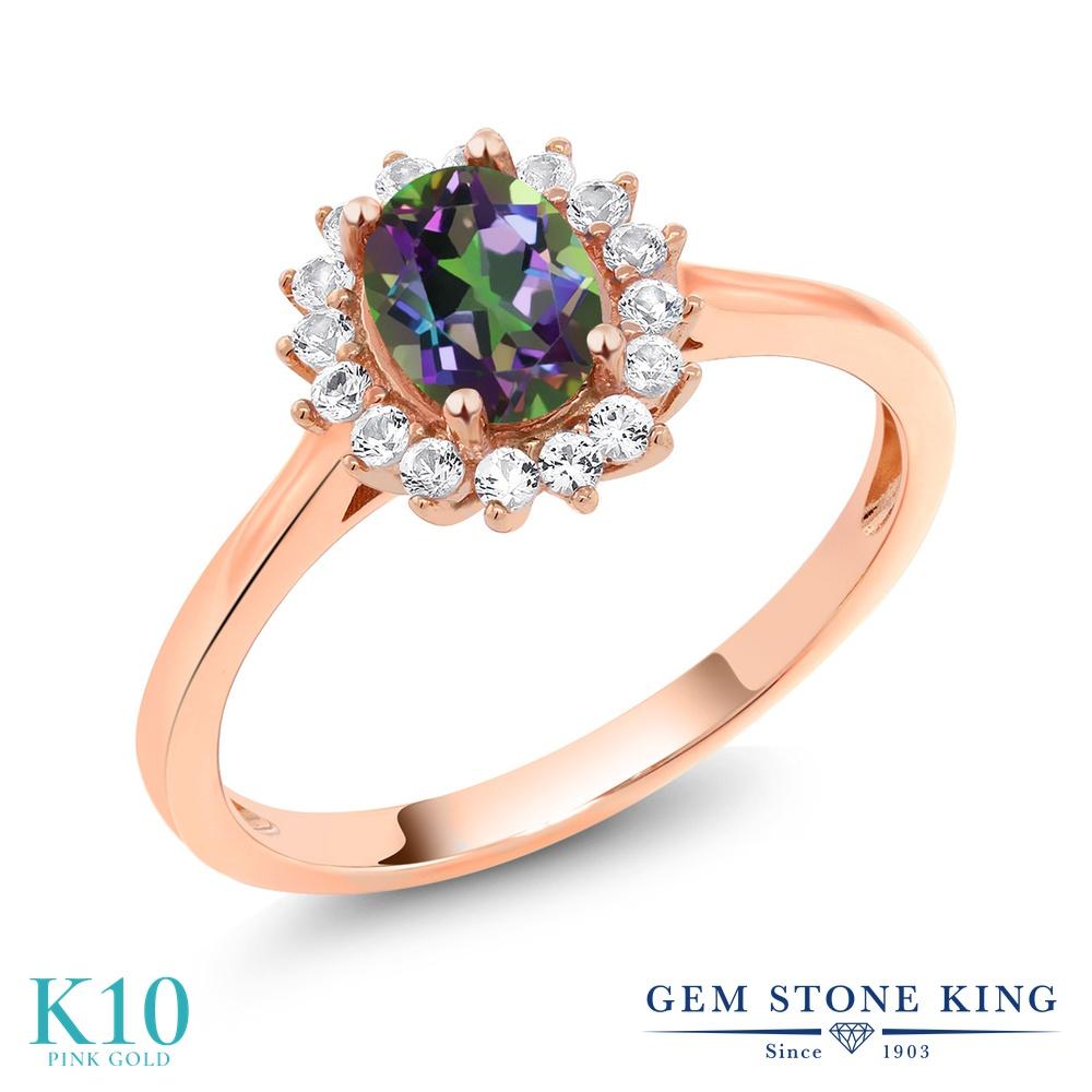 Gem Stone King 1.04カラット 天然石 ミスティックトパーズ (グリーン) 合成ホワイトサファイア (ダイヤのような無色透明) 10金 ピンクゴールド(K10) 指輪 リング レディース クラスター 天然石 金属アレルギー対応 誕生日プレゼント