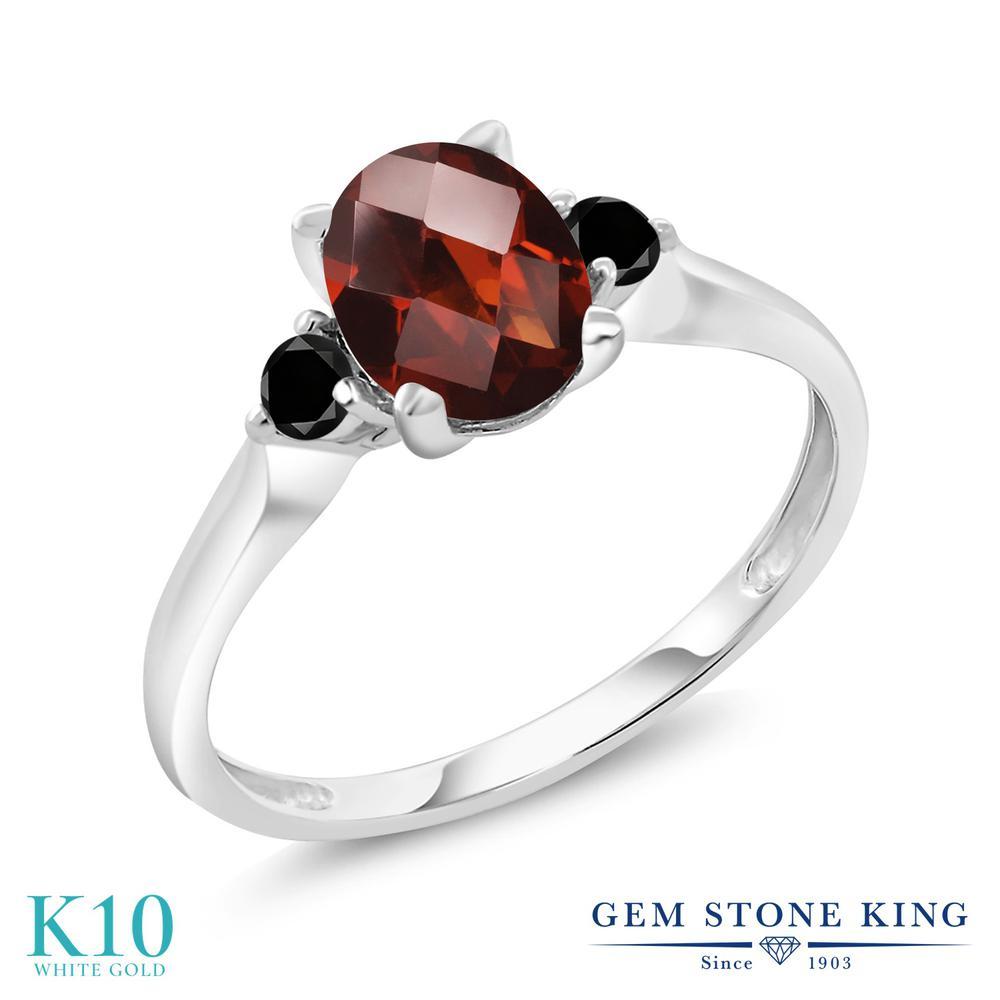 Gem Stone King 1.66カラット 天然 ガーネット 天然ブラックダイヤモンド 10金 ホワイトゴールド(K10) 指輪 リング レディース 大粒 シンプル スリーストーン 天然石 1月 誕生石 金属アレルギー対応 誕生日プレゼント