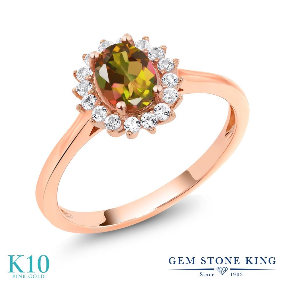 【10%OFF】 Gem Stone King 1.04カラット 天然石 ミスティックトパーズ (マンゴーオレンジ) 合成ホワイトサファイア (ダイヤのような無色透明) 指輪 リング レディース 10金 ピンクゴールド K10 クラスター クリスマスプレゼント 女性 彼女 妻 誕生日