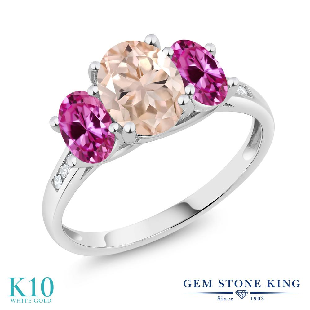 Gem Stone King 2カラット 天然モルガナイト(ピーチ) 合成ピンクサファイア 天然ダイヤモンド 10金 ホワイトゴールド(K10) 天然ダイヤモンド 指輪 リング レディース 大粒 スリーストーン 天然石 誕生石 金属アレルギー対応 誕生日プレゼント