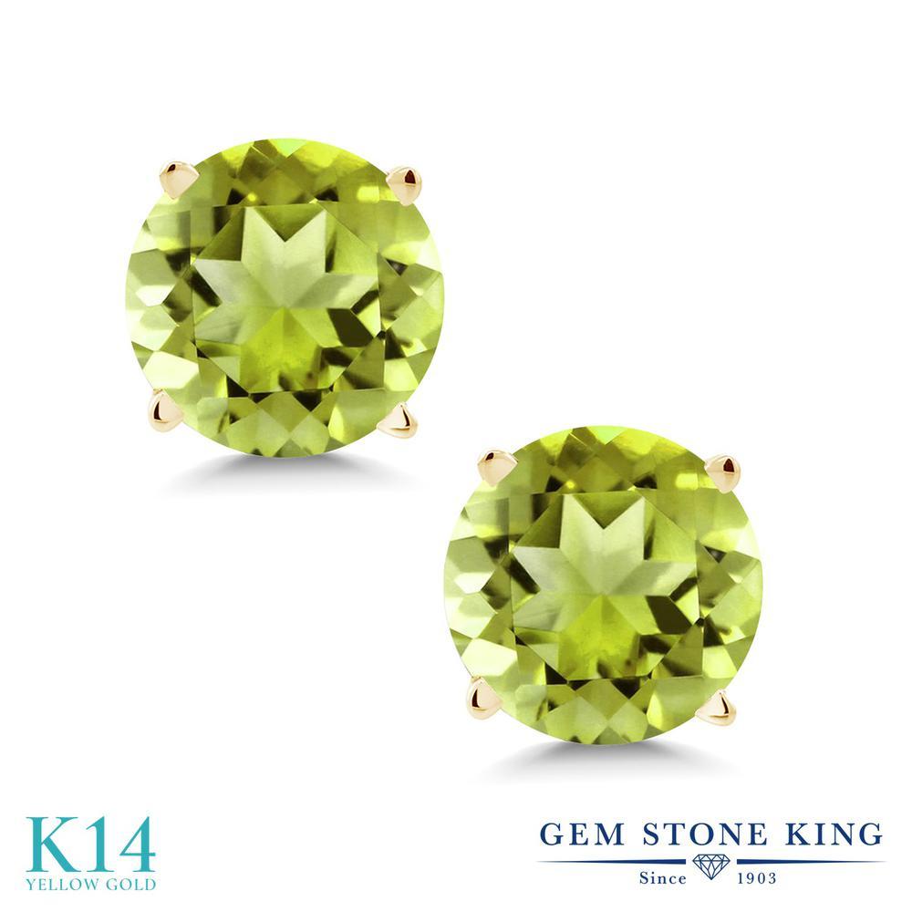 Gem Stone King 1.70カラット 天然石ペリドット 14金 イエローゴールド(K14) ピアス レディース シンプル スタッド 天然石 誕生石 金属アレルギー対応 誕生日プレゼント