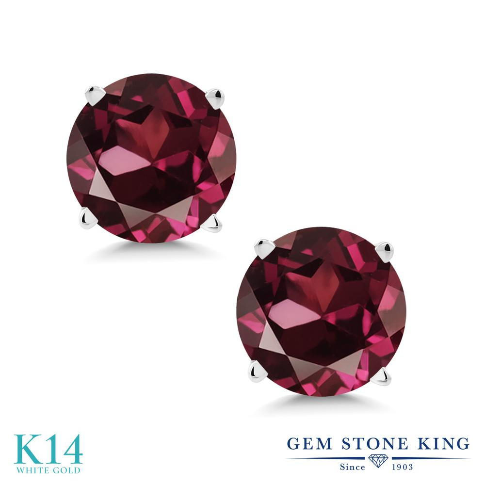 Gem Stone King 2カラット 天然 ロードライトガーネット 14金 ホワイトゴールド(K14) ピアス レディース 大粒 シンプル スタッド 天然石 金属アレルギー対応 誕生日プレゼント