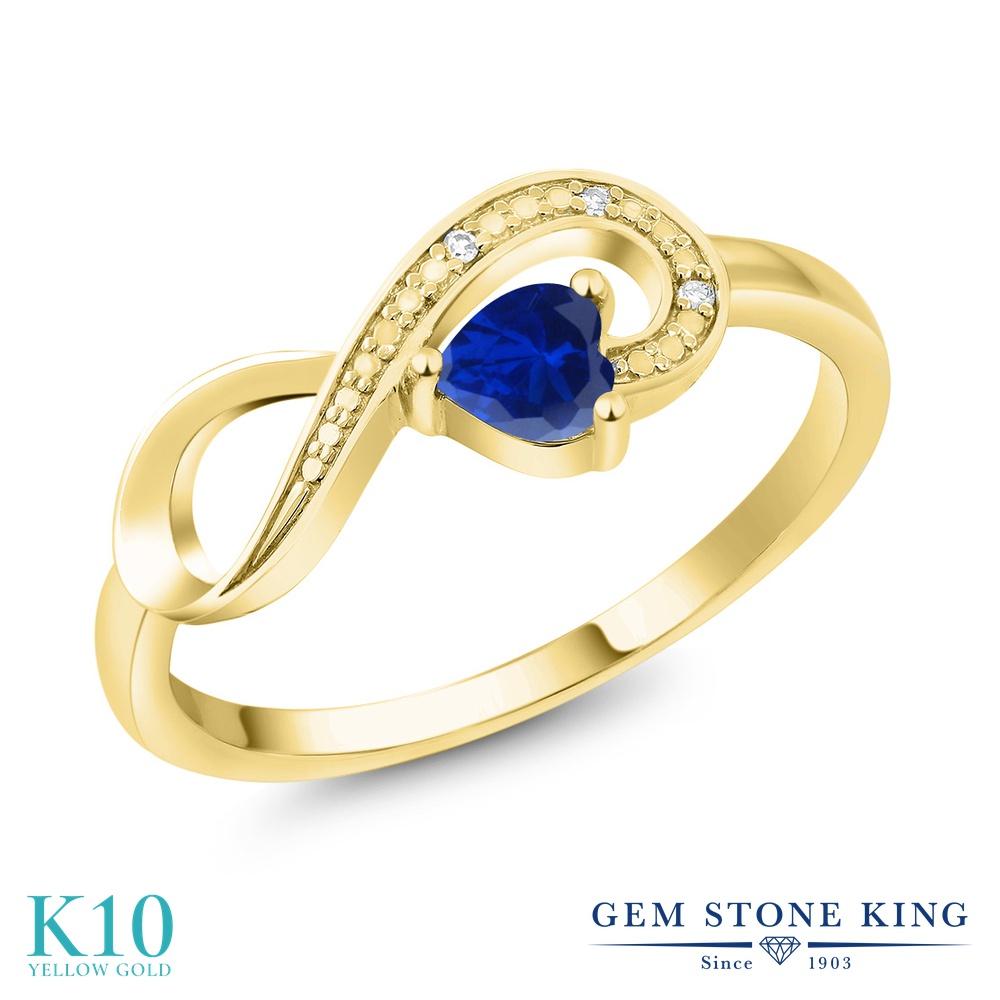 Gem Stone King 0.5カラット シミュレイテッド サファイア 天然 ダイヤモンド 10金 イエローゴールド(K10) 指輪 リング レディース 小粒 インフィニティ シンプル エタニティ 金属アレルギー対応 誕生日プレゼント