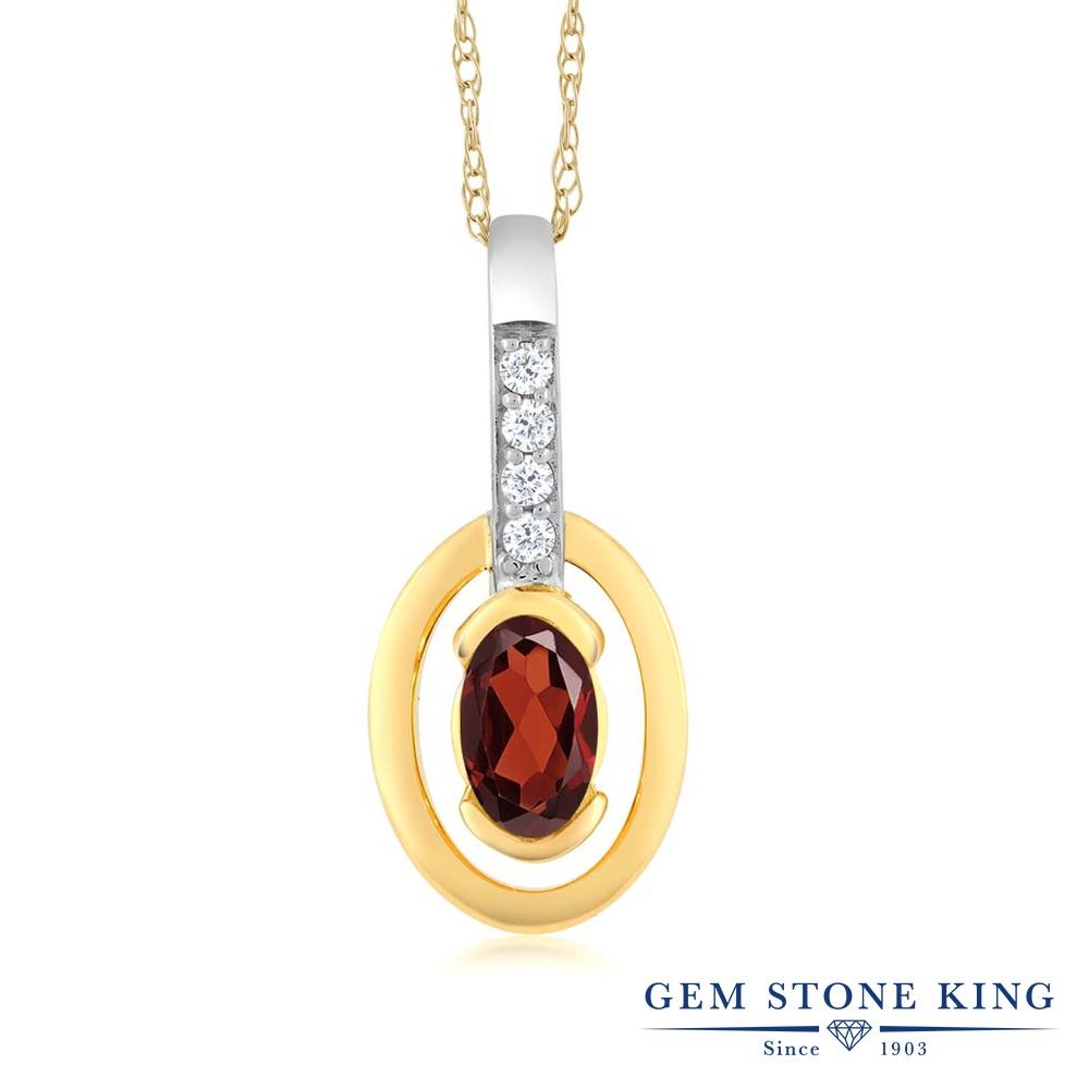Gem Stone King 0.3カラット 天然 ガーネット 天然 ダイヤモンド 10金 Two Toneゴールド(K10) ネックレス ペンダント レディース 小粒 天然石 1月 誕生石 金属アレルギー対応 誕生日プレゼント